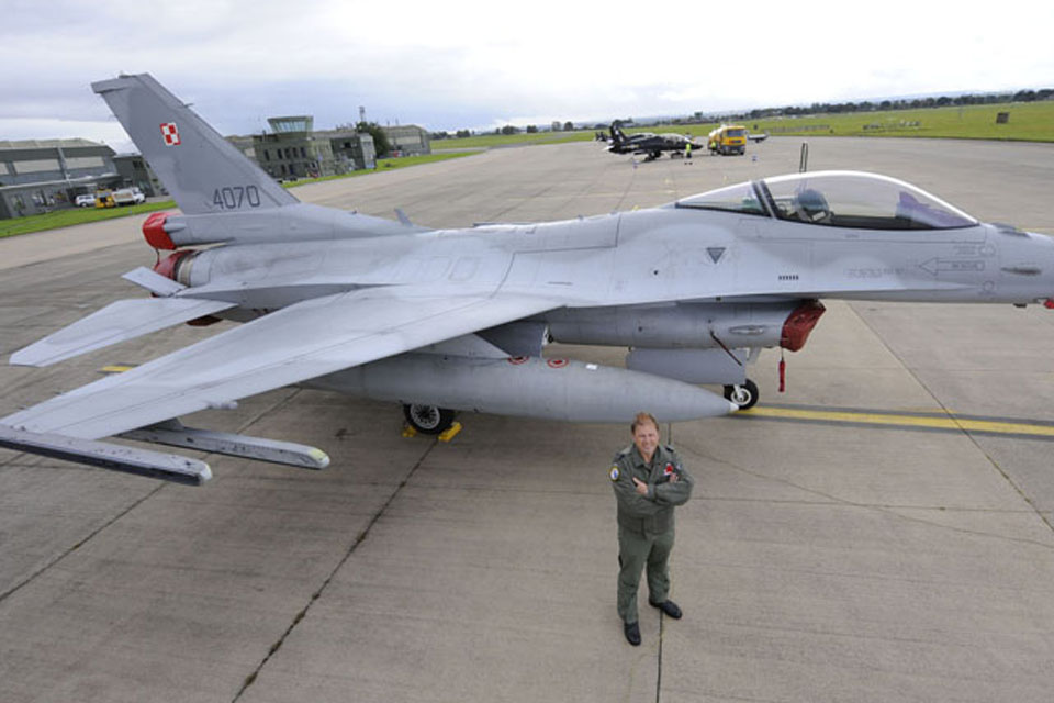 An F-16 aircraft at RAF Leeming