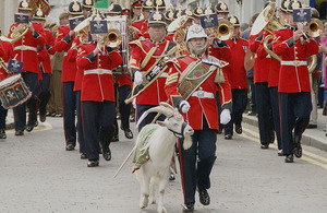 Shenkin the regimental goat and Goat Major Sergeant David Joseph