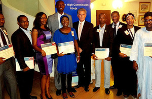 2013/14 Chevening Scholars from Nigeria at reception in Abuja.