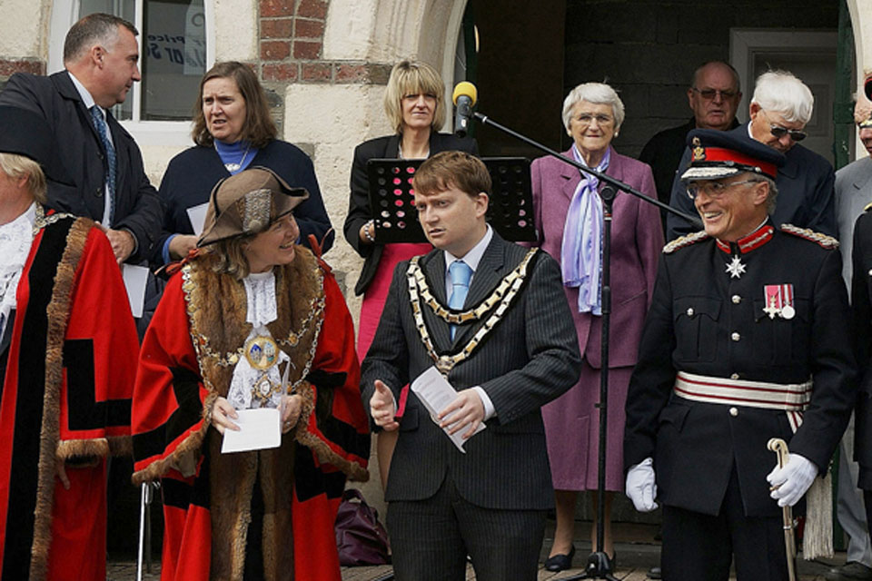 From left: Mr Graham Evans, Councillor Catrin Miles, the Mayor of Cardigan, Councillor Mark Cole, Chairman of Ceredigion County Council, the Honourable Robin Lewis, Lord-Lieutenant of Dyfed, and Brigadier Philip Napier