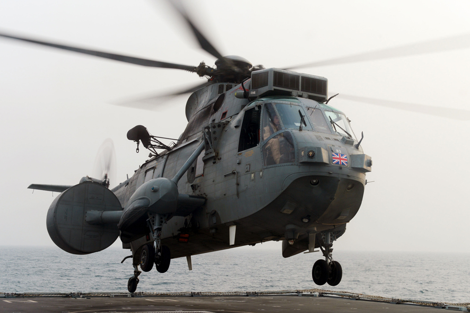 A Sea King Mk7 Airborne Surveillance and Control helicopter