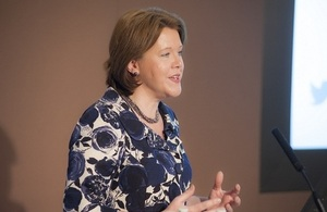 Maria Miller at a conference marking the first anniversary of Women's Empowerment Principles in UK