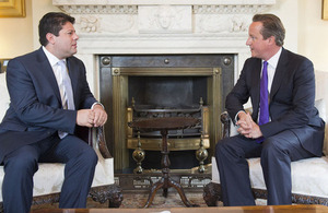David Cameron with the Chief Minister of Gibraltar, Fabian Picardo