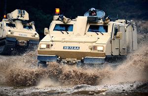 Viking amphibious all-terrain vehicle crews training on the Bovington ranges