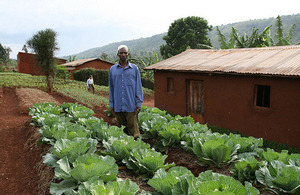 Ramadhan stands among his cabbages at his home in Rugina, Rwanda. Picture: Tiggy Ridley/DFID