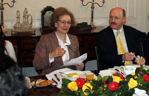 Chilean Ambassador María Teresa Infante with Russell Baker, DHM at the British Embassy