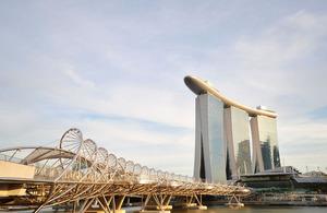 Helix Bridge and the Marina Bay Sands, Singapore