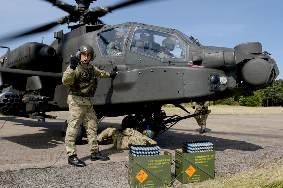 Members of 654 Squadron preparing an Apache helicopter for take-off