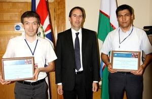 Her Majesty's Ambassador to Uzbekistan, H.E. Mr George Edgar with Mr Azizjon Gapparov and Mr Zamon Holdarov.