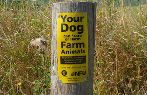 National Farmers' Union temporary warning sign [Picture: Crown copyright]