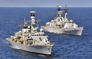 HMS Westminster (left) and Italian ship Francesco Mimbelli [Picture: Leading Airman (Photographer) Dan Rosenbaum, Crown copyright]