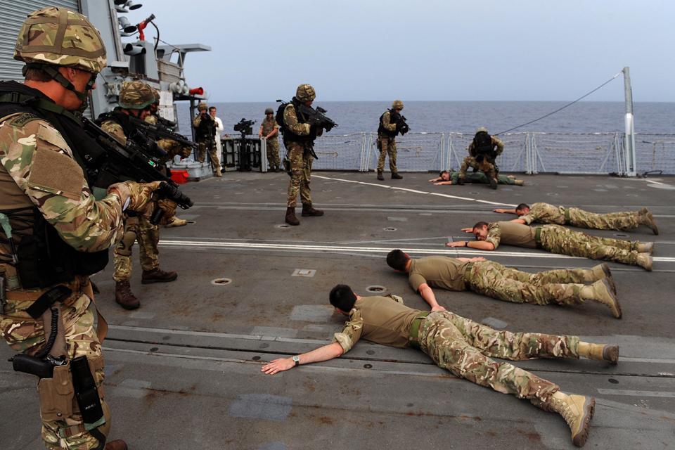 Royal Marines conducting a boarding exercise