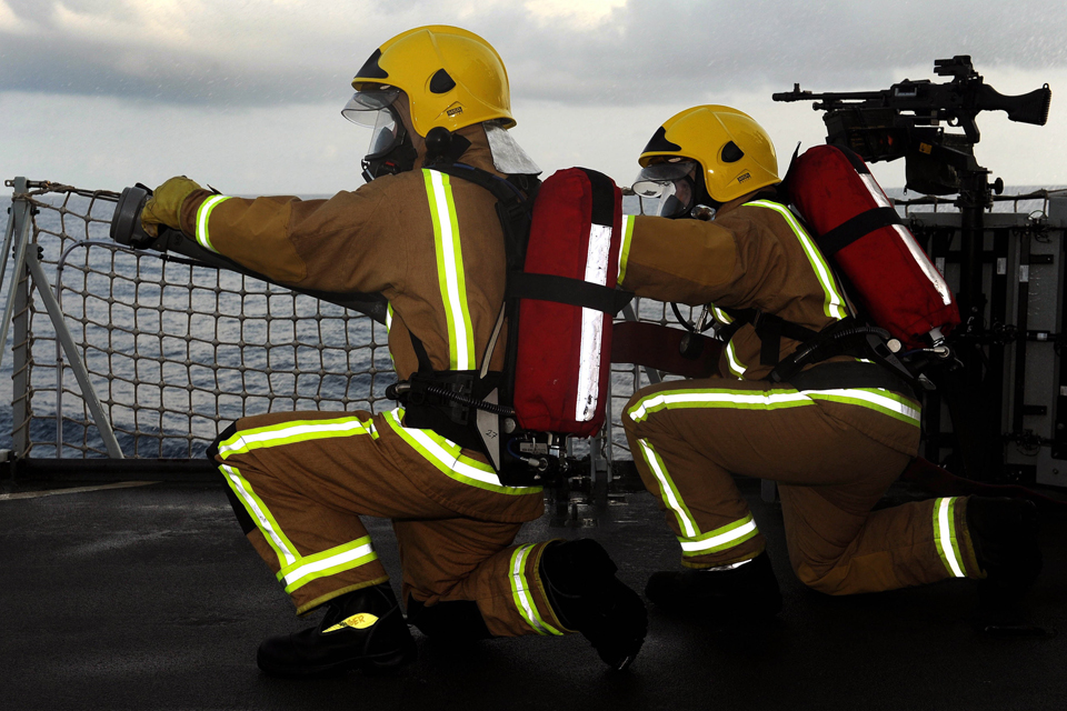 Members of the firefighting team
