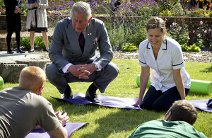 His Royal Highness The Prince of Wales meets patients and staff at the new Jubilee Rehabilitation Complex at Headley Court