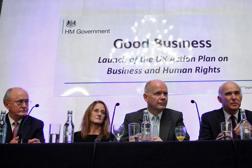 Foreign Secretary William Hague and Business Secretary Vince Cable with Professor John Ruggie, the former UN Secretary General's Special Representative on Business and Human Rights and author of the UN Guiding Principles and Marcela Manubens, Global VP fo