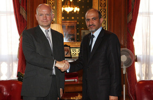 The Foreign Secretary, William Hague and the President of the Syrian National Coalition Ahmad Al-Jarba.