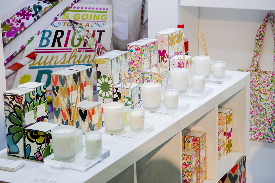 Caroline Gardner brought a selection of their stationery and candles to attract US buyers and distributors.