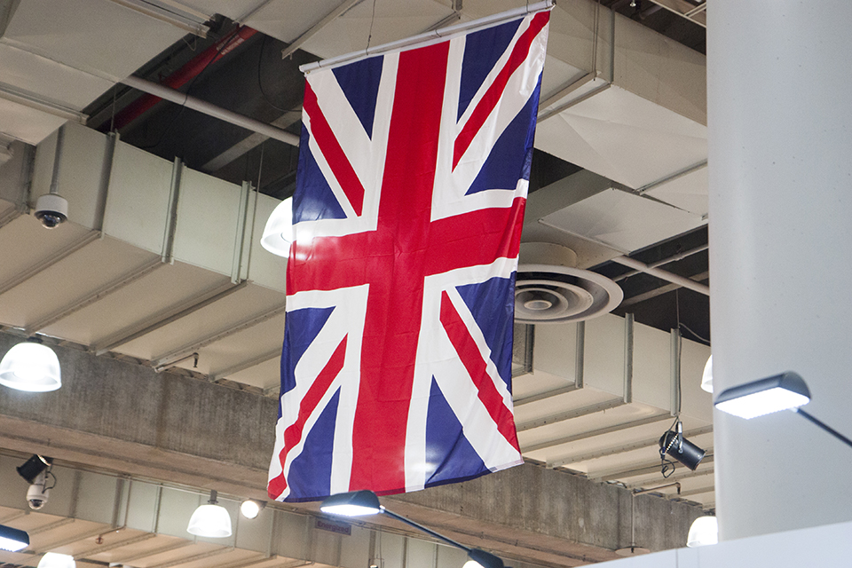 The Union Flag is hung over the British pavilion at the NY NOW tradeshow.
