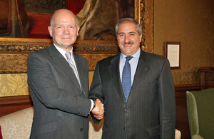 Foreign Secretary William Hague meets Jordanian Foreign Minister Nasser Judeh.
