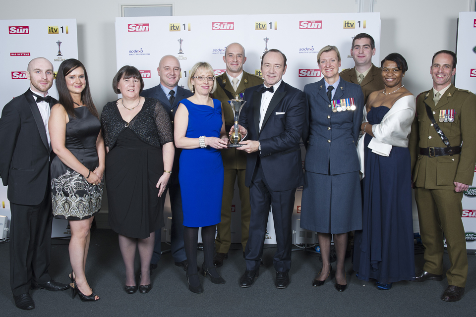 Staff from Headley Court Defence Medical Rehabilitation Centre with actor Kevin Spacey