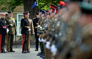 The last intake of soldiers to pass out from Phase 1 training at the Army Training Centre Bassingbourn is inspected by Major General Paul Jaques on the parade square