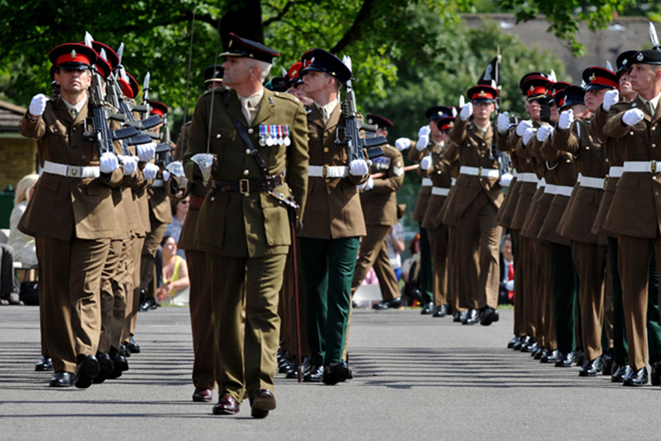 Soldiers march off the parade square during the final passing out parade at the Army Training Regiment Bassingbourn