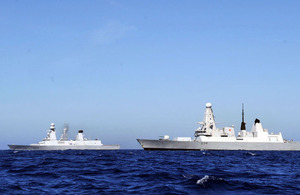 French Navy destroyer FS Forbin and HMS Diamond meet in the Mediterranean Sea