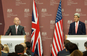 The Foreign Secretary William Hague and US Secretary of State John Kerry