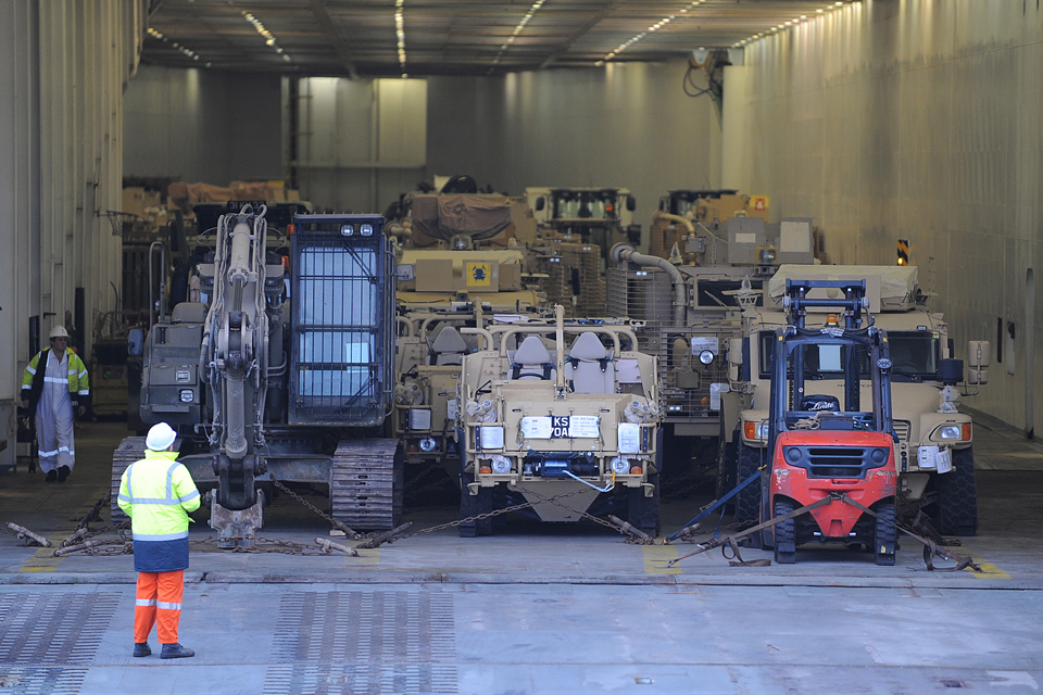 Vehicles being returned to the UK from Afghanistan