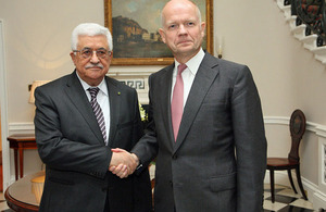 Foreign Secretary William Hague and President Mahmoud Abbas
