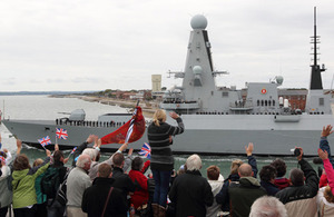 The crew of HMS Diamond are waved off by families, friends and locals as she leaves Portsmouth