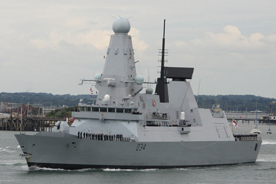 HMS Diamond leaving Portsmouth