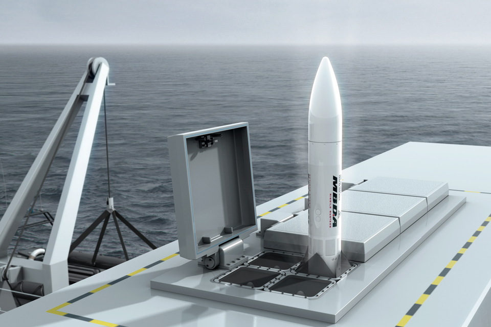 Computer-generated image of the Sea Ceptor missile system