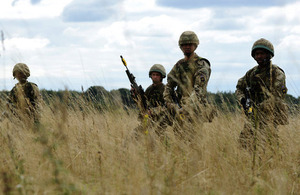 Soldiers on patrol during an exercise [Picture: Corporal Obi Igbo, Crown copyright]