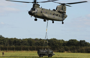 Rigging vehicles to be carried under helicopters is a key skill that logisticians practised during Exercise Active Chariot