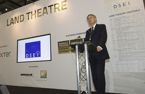 Defence Secretary Philip Hammond speaking on the first day of DSEI 2013 [Picture: Petty Officer (Photographer) Derek Wade, Crown copyright]
