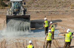 Army reservists from the Royal Monmouthshire Royal Engineers constructing an improvised explosive device search training facility in Cyprus for Afghanistan-bound British soldiers