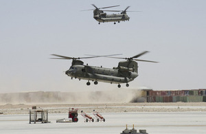 Chinook helicopters arriving at Camp Bastion to pick up underslung loads [Picture: Imperial War Museum]
