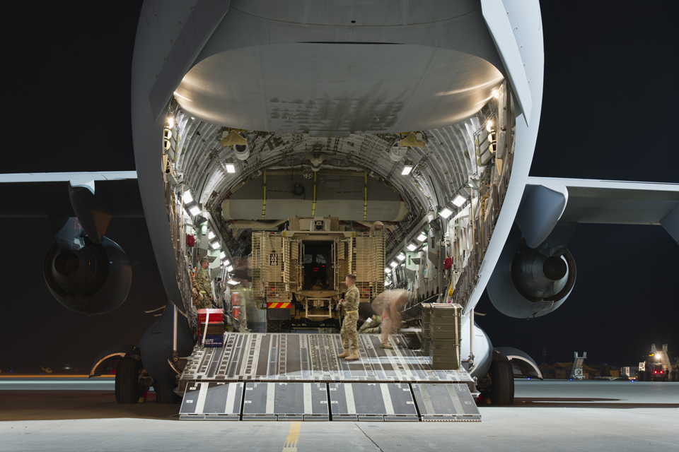 A Mastiff armoured vehicle inside a C-17 aircraft