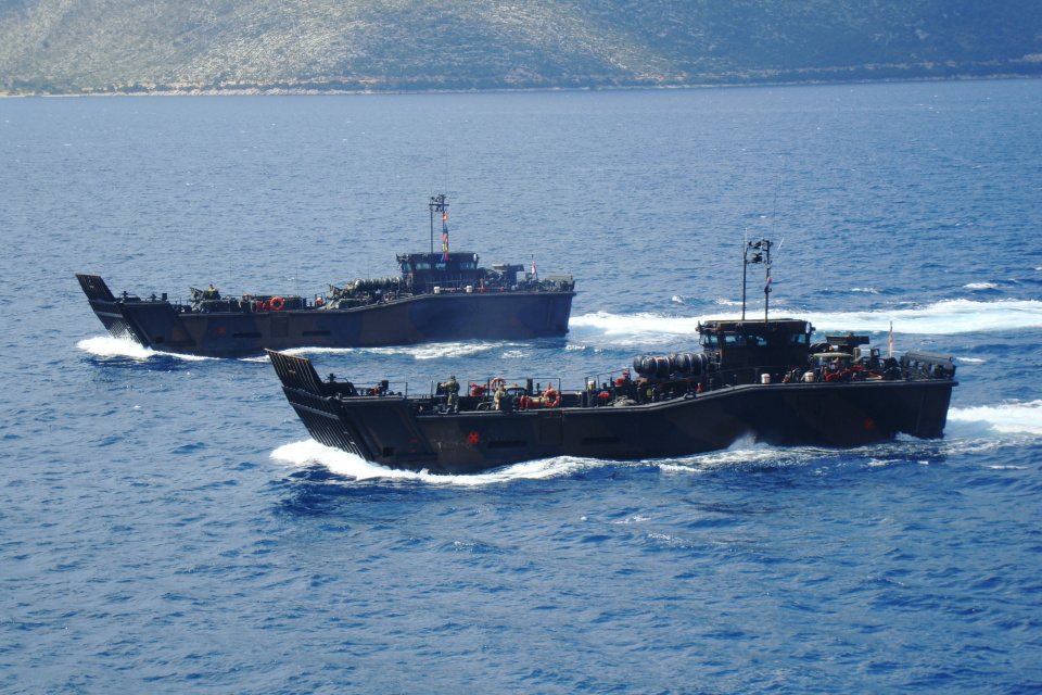 "Royal Marines Landing Craft Utility (LCU) MK10 engaged in demonstrations – DV Day ""Albanian Lion 13"""
