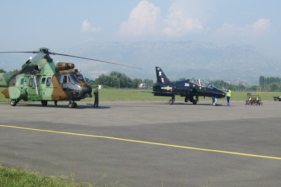 """Albanian Lion 13""- an Albanian Air Forces Cougar AS532 and a BAE Systems Hawk of the 100 Squadron RAF at Rinas, Tirana."