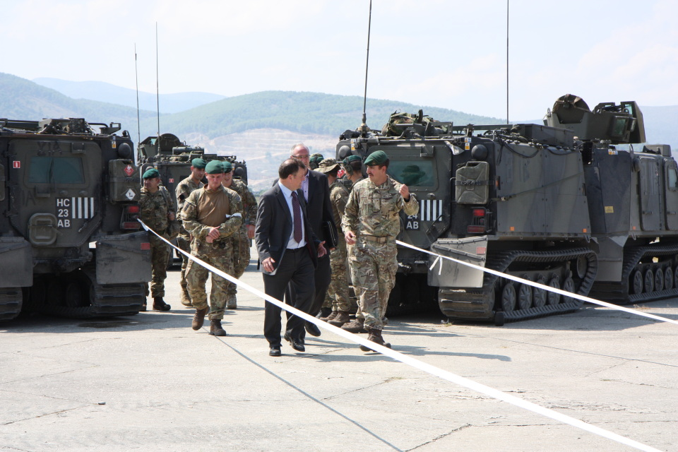 """Albanian Lion 13"" - HMA Nicholas Cannon is received by Royal Marines upon his arrival in Kuçova during a NEO Exercise."