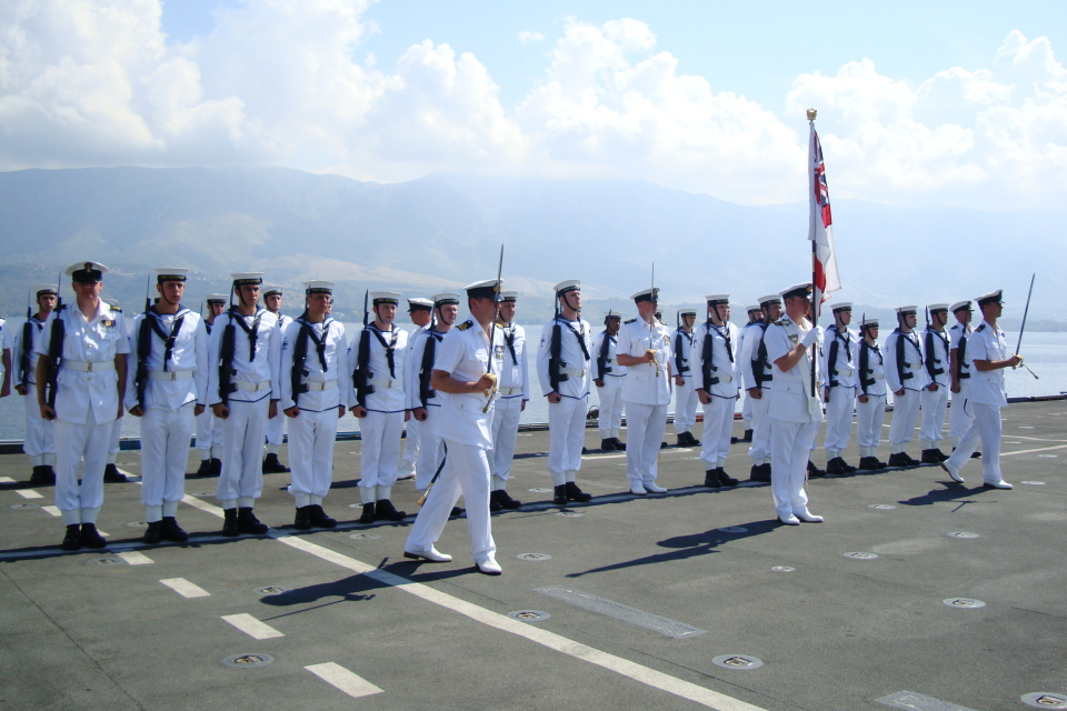 "Albanian Lion 13"" – DV Day, Royal Navy Guard of Honour on board HMS Illustrious."