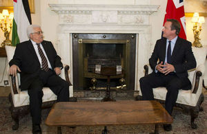 Prime Minister David Cameron and President Mahmoud Abbas in Downing Street