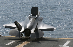 Squadron Leader Jim Schofield RAF performs the first short takeoff at sea in a F-35B aircraft from the USS Wasp