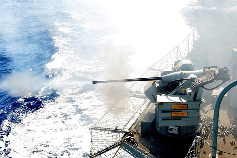 HMS Sutherland's 30mm gun during the live firing exercise off Gibraltar