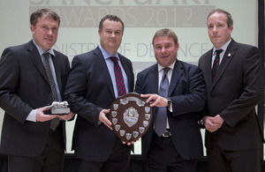From left: Richard Osgood (DIO), Sergeant Diarmaid Walshe, Minister of State for Defence Personnel, Welfare and Veterans Mark Francois and Lance Corporal Dave Hart at the 2012 Sanctuary Awards