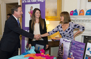 The Prime Minister meets Jessica McLean of Baggers Originals at a Downing Street reception for British entrepreneurs.