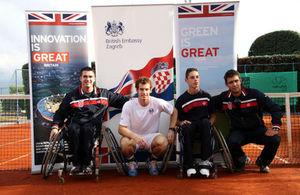 Andy Murray with Croatian wheelchair tennis players Ninoslav Krsnik and Antonio Arambašić and their coach Mate Novak