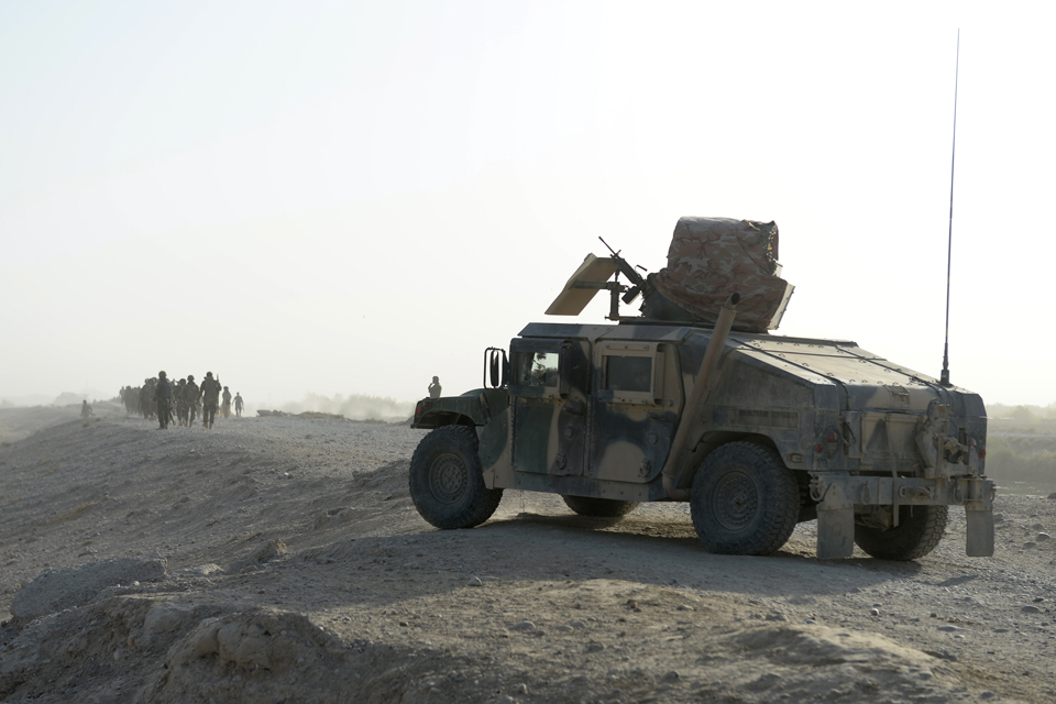 Afghan soldiers on operation in Nahr-e Saraj